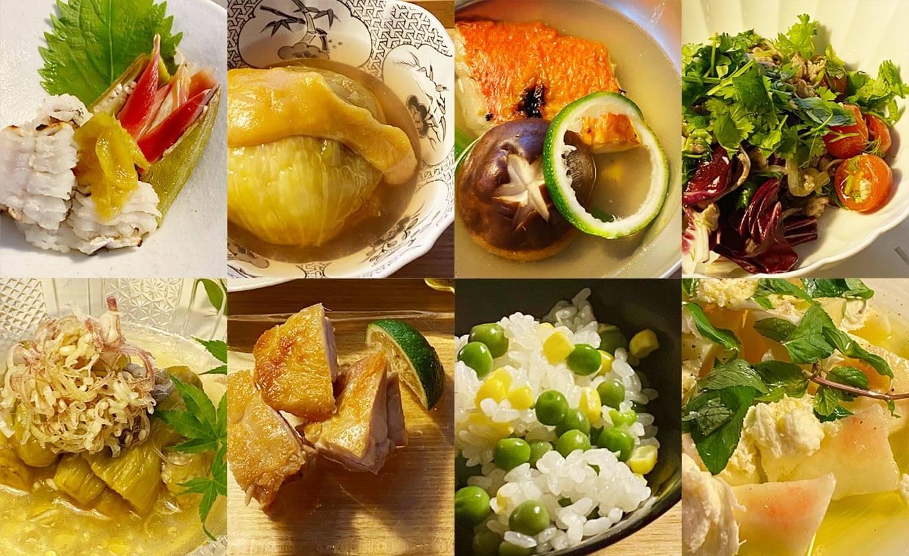 暑い日には、すっきりと喉越し良いスパークリングと優しい味わいの和食