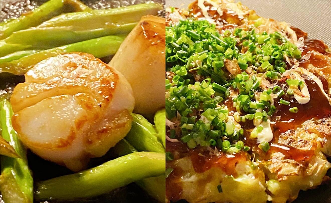帆立貝とアスパラガスのバター醤油焼き・関西風のお好み焼き